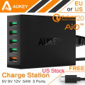 Aukey Quick Charger 2.0 for SONY HTC Quick Charger 2.0 54W 5 Port Micro USB Desktop Charger QC2.0 Wall Charging US Stock