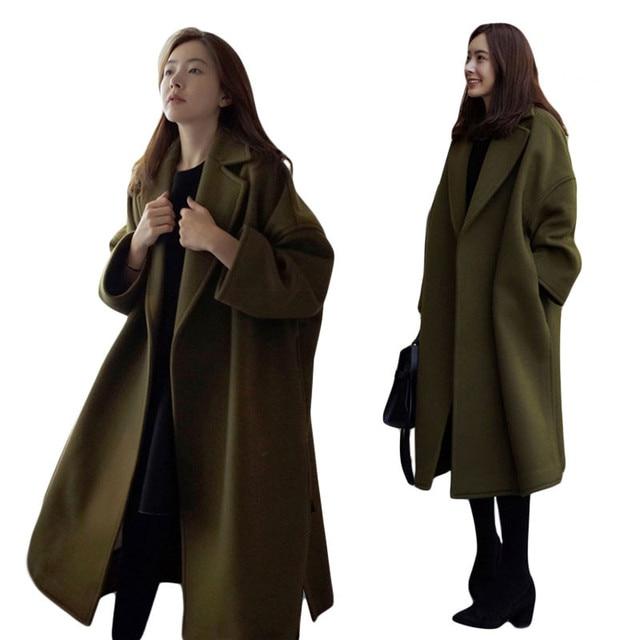 Winter Jacket Women Army Green Oversized Coats Cashmere Wool Coat ...