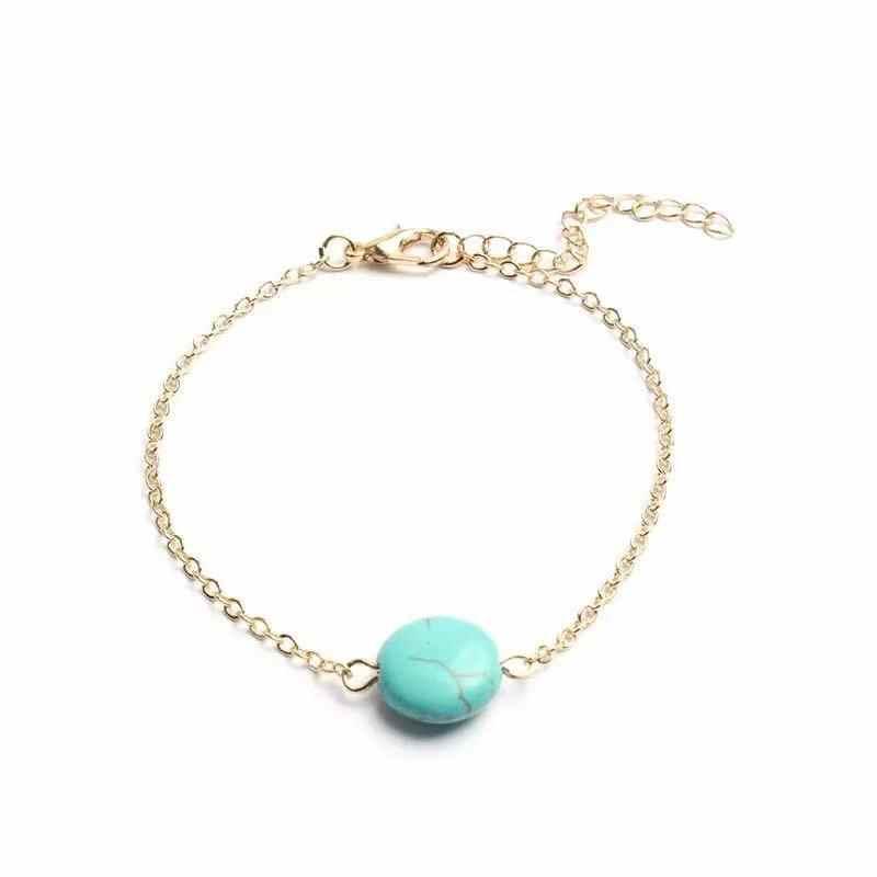หินสีฟ้าธรรมชาติสร้อยข้อมือสำหรับของขวัญผู้หญิง Elegant รอบสร้อยข้อมือใหม่แฟชั่นเครื่องประดับ