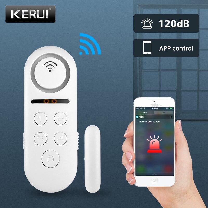 KERUI WIFI Tür Alarm System APP Control Home Security Alarm 120dB Fenster Sensor Passwort Erforderlich Einbrecher Alarm Sicherheit System