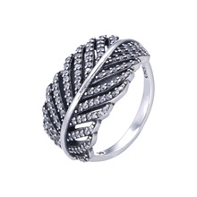 Authentic 925 Sterling Silver Ring Vintage Cute Pave Feather Cubic With Crystal Ring Wedding Party Gift Fine Jewelry