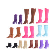 1 pair Assorted Casual High Heels Long Barrel Cute Shoes Colorful Fashion Boots For Doll(China)