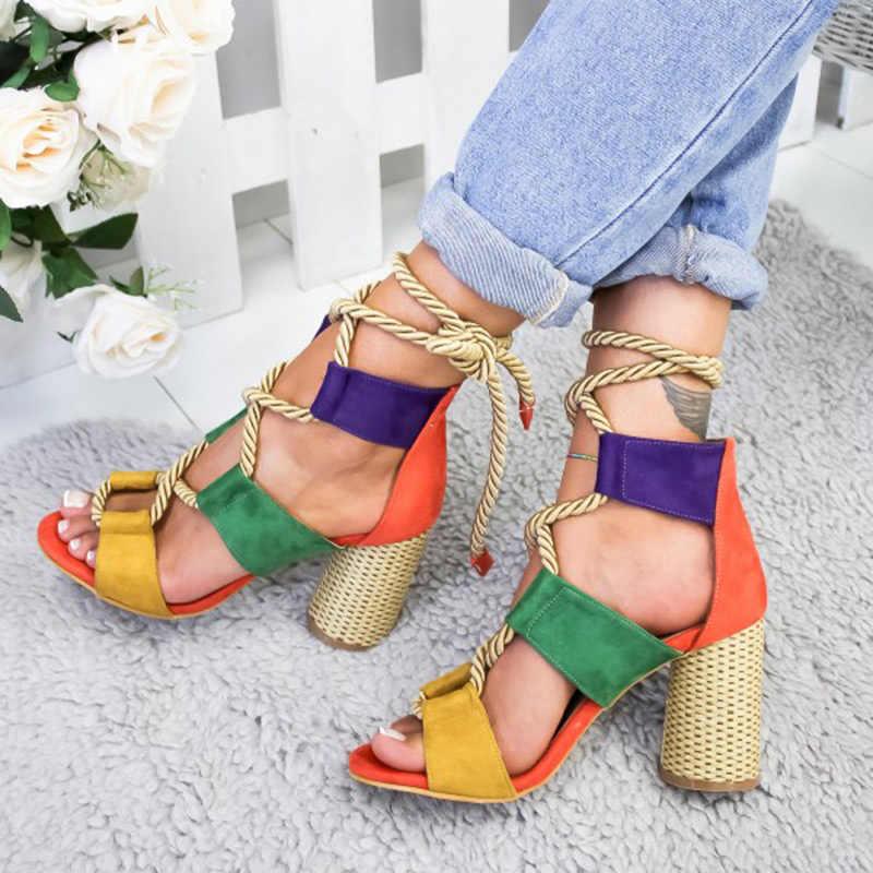 Vrouw Sandalen 2020 Zomer Peep Toe Hoge Hakken Hennep Lace Up Dames Gemengde Candy Kleur Schoenen Blok Hak Schoenen Sexy sandalen Dames