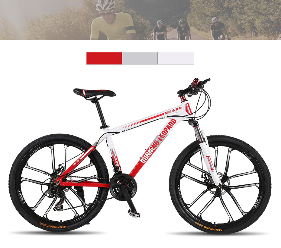 HTB1OU0gXyLrK1Rjy1zdq6ynnpXaE Running Leopard mountain bike 26-inch steel 21-speed bikes double disc brakes variable speed road bikes racing bike