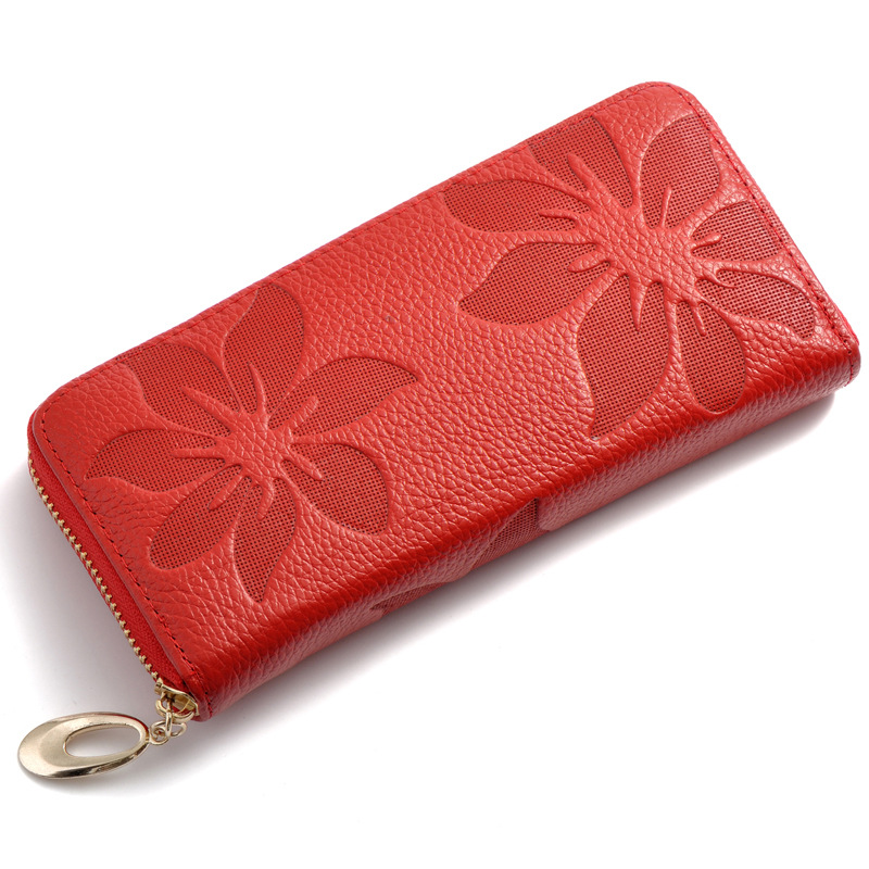 Fashion Genuine Leather Women purse Zipper Around wallet Flower pattern female Long real cowhide Wallets Bags card holder
