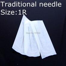 100pcs X 1R Professional Sterilized Permanent Make Up Needle &blue Needle Caps 1R For Giant Sun Eyebrow Makeup Machine Gun