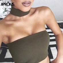 Aproms Halter Backless Tank Tops Frauen Sexy Elestic Crop Top Casual Off Schulter Ärmel Camis 2019 Sommer Leibchen(China)