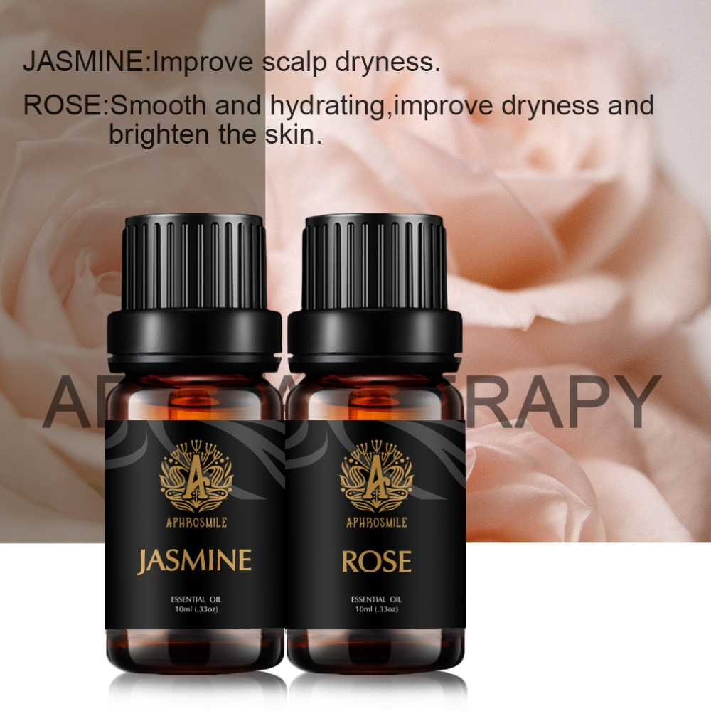 Brand New 10ml Pure Essential Oils For Aromatherapy Diffusers Aroma Oil Jasmine Rose 2 Flavors/Set Hot Sale Skin Brightening Oil