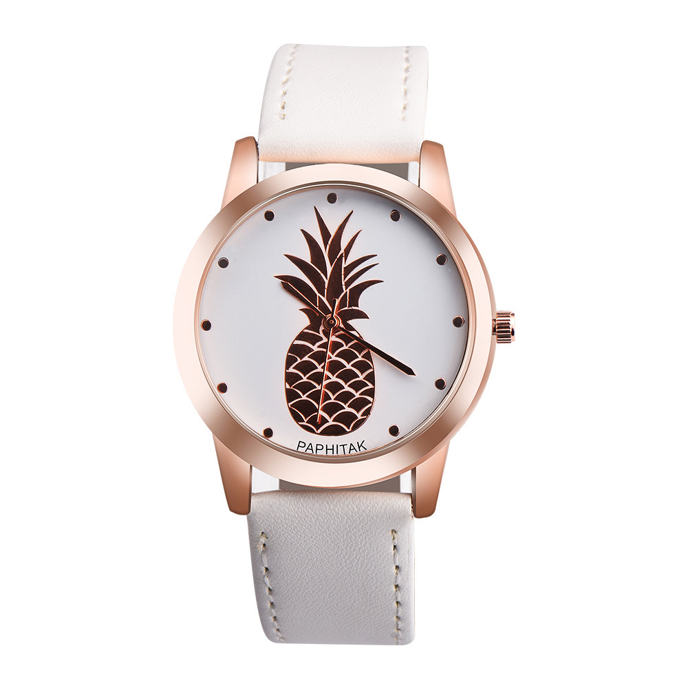 Fashion Womens Men Pineapple Faux Leather Analog Quartz Watch lady dress watches For dropshipping dynamite baits xl pineapple