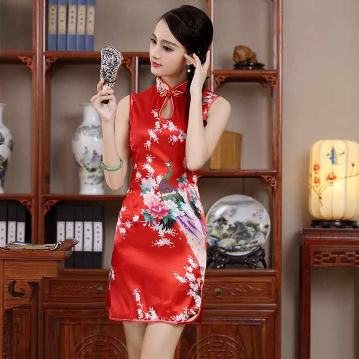 66040a357 ... New Satin Women's Sleeveless Sexy Qipao Dress Chinese Style Mandarin  Collar Formal Short Flower Cheongsam M L ...