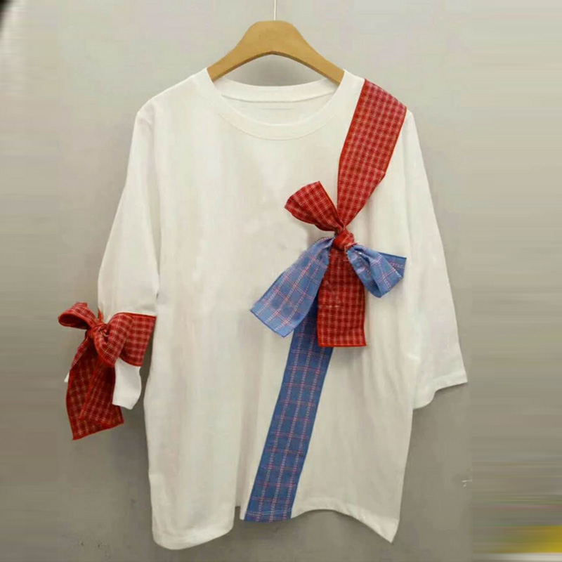 2018 Summer Clothes Women New Fashion Bow Tie Stitching White T-shirt Female Student Tshirt Tees Tops