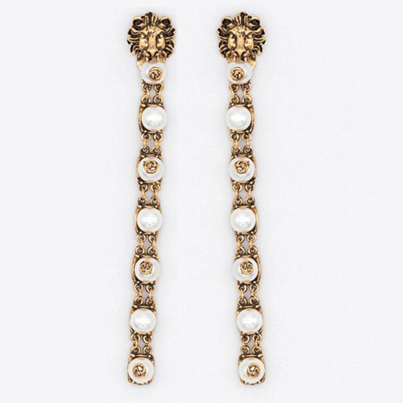 Elegant Lion Head Long Pearl Dangle Drop Earrings for OL Women Accessories Gold Plating in Drop Earrings from Jewelry Accessories