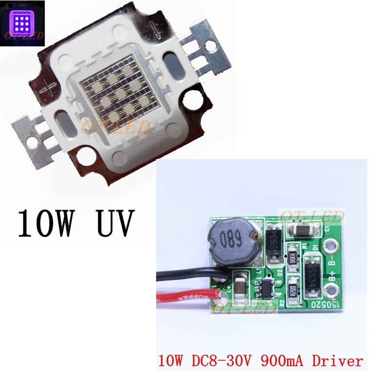 10W UV led ultraviolet 365nm 375nm 385nm 395nm 410nm 420nm High Power led lamp light+10w non waterproof driver 900mA 90w led driver dc40v 2 7a high power led driver for flood light street light ip65 constant current drive power supply