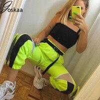 High Waist Mesh Patchwork Black Pencil Neon Green Pants Streetwear Cargo Pants Loose Jogger Split Streetwear Sweatpants Womens