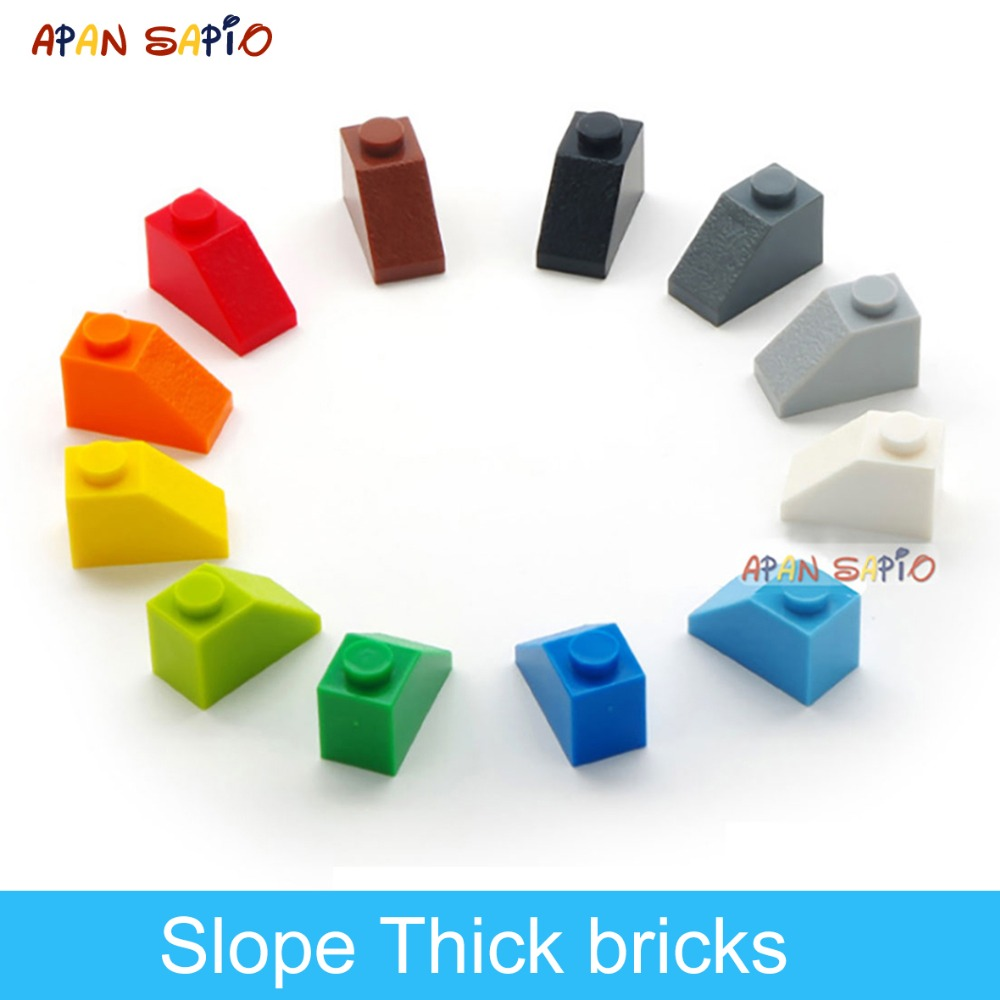 DIY Building Blocks Thick Figures Bricks Slope 120PCS Lot 12Colors Educational Creative Compatible With Brands Toys For Children