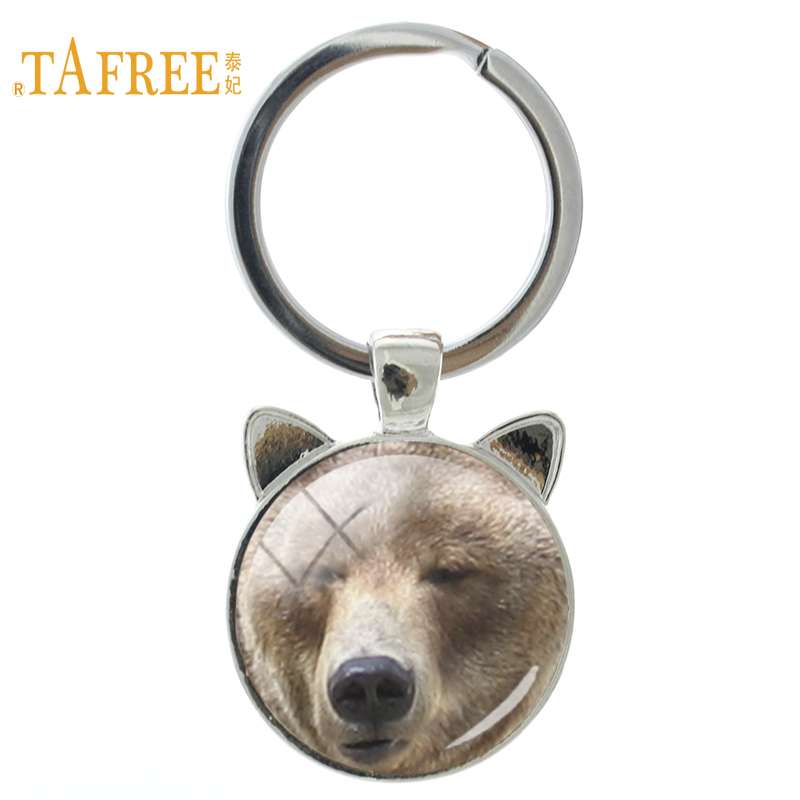 TAFREE wild animal Bears keychain vintage Cartoon teddy bear Polar Bear glass cabochon ear key chain ring holder jewelry CN516