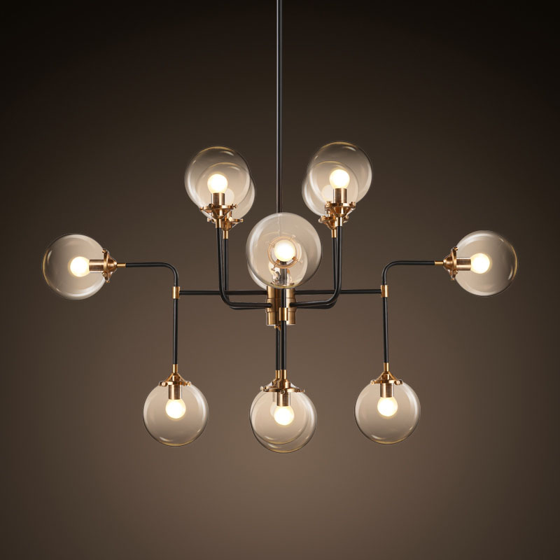 Modern Magic Beans Lustres Wrought Iron Industrial Cafe Project Lamps Nordic Art Deco Glass Round Ball Pendant Hanging Lights nodic magic beans dna lustres pendant light modern wrought iron e27 led home hanglamp industrial cafe art deco project lamps