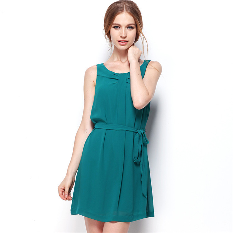 2018 Sexy Chiffon <font><b>Belt</b></font> Sashes Solid Women Summer Dress Sleeveless O Neck Mini Bow Elegant Office Lady Girl Robes Vestidos Female image
