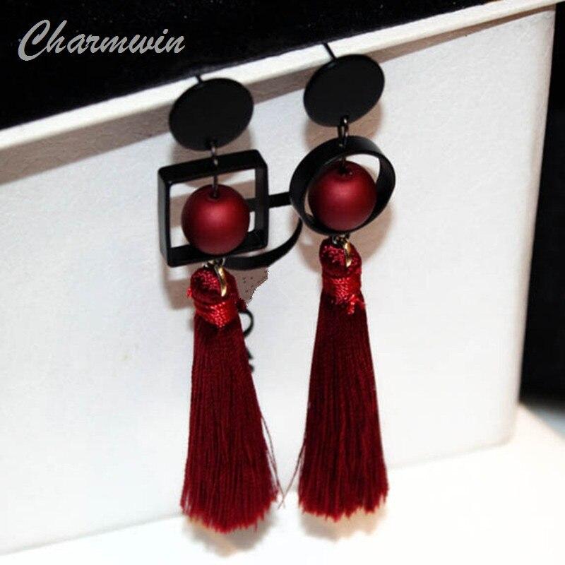 цена на Charmwin Exaggerated Geometric Long Tassel Earrings For Women Fashion Jewelry Simulated Pearl Dangle Earring Women 3 Colors