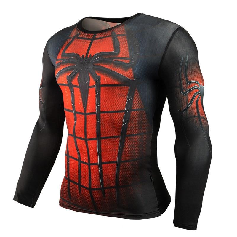 running - NEW 2019 Superman Punisher Rashgard Running Shirt Men T-shirt Long Sleeve Compression Shirts Gym T-shirt Fitness Sport Shirt Men