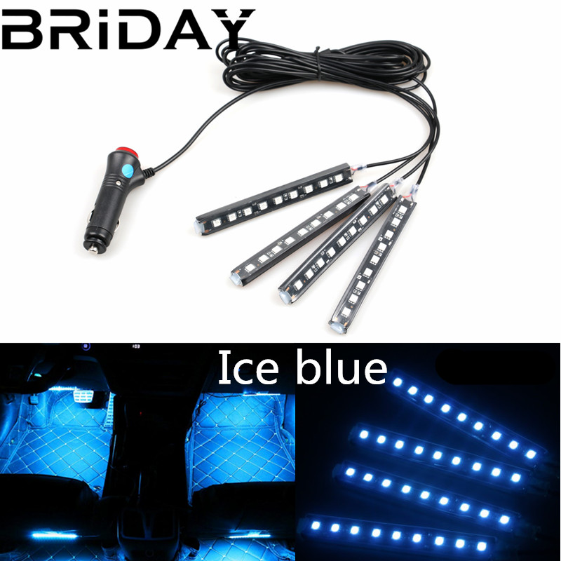 BRIDAY 4pcs/set Car LED Strip 10W Car Interior Decorative Atmosphere Strip Auto Pathway Floor Light car-styling 12V