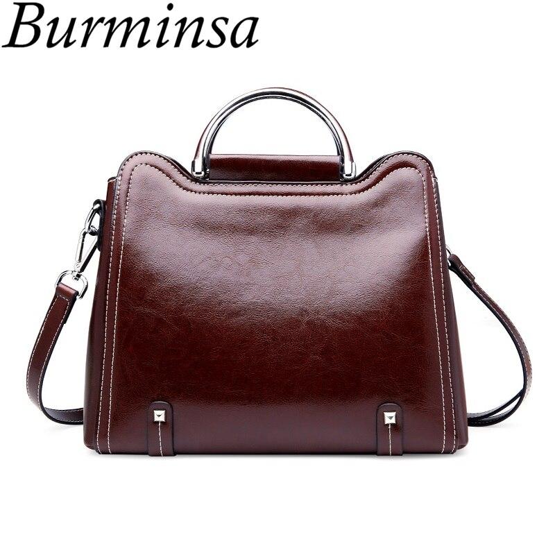 Burminsa Ladies Genuine Leather Handbags Large Capacity Female Shoulder Bags Retro Oil Wax Leather Crossbody Bags