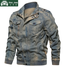 New Spring Military Denim Jacket Men Plus Size 6XL Bomber Jackets Male