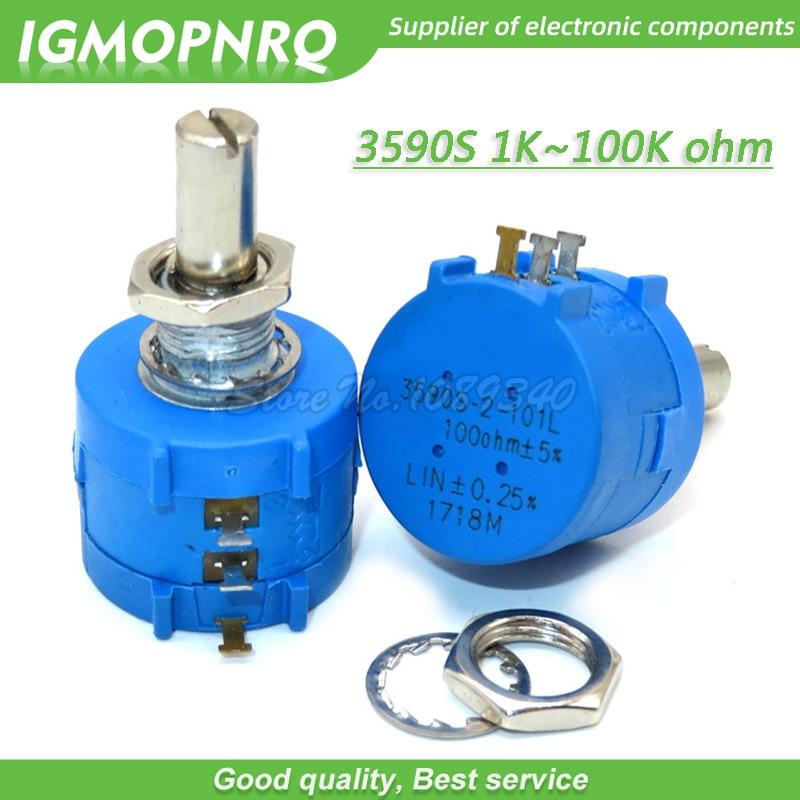 1pcs 3590S 1K 2K 5K 10K 20K 50K 100K Ohm Precision Potentiometer Adjustable Resistor 3590 102 103 502 103 203 503 104 IGMOPNRQ