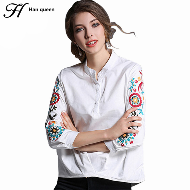 H han queen blouses new embroidery shirt women 3 4 sleeve for White cotton work shirts