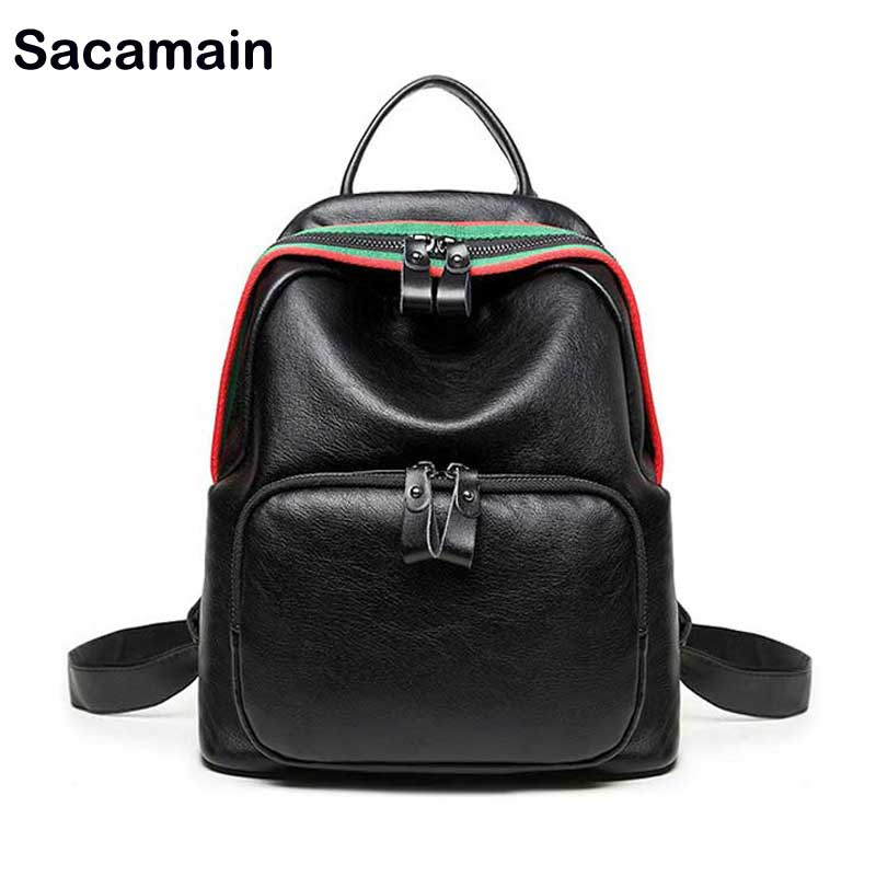 Sacamain Brand School Bags For Girls Casual Bags Female Shoulder Genuine Leather Backpack Women Cow Leather Vintage Backpack