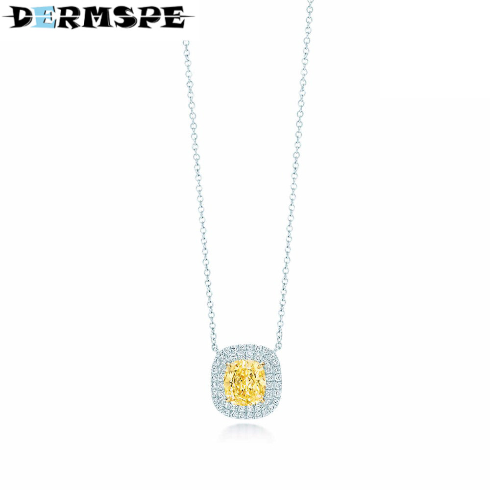 DERMSPE Yellow Zirconium Pendant Necklace TIFF 925 Sterling Silver Pendant Nature Fashion Jewelry Package Mail цены