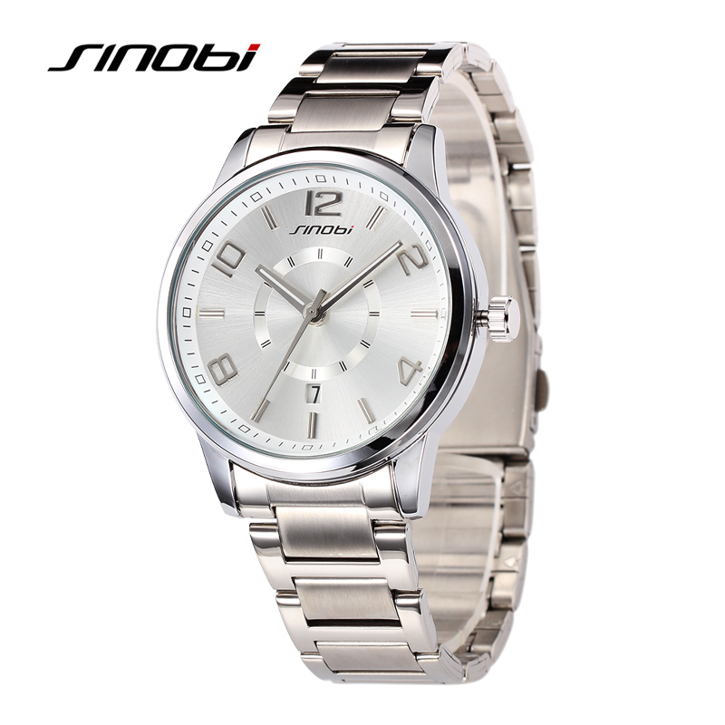 SINOBI Luxury Lady Silver Quartz Watches Stainless Steel Wristwatch Women Fashion Business Wrist Watches Argent Female ysdx 398 fashion stainless steel self stirring mug black silver 2 x aaa