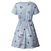 Women Summer Dress Floral Prints Button Short Sleeve V Neck Dress Evening Party Mini Sexy Dress Women