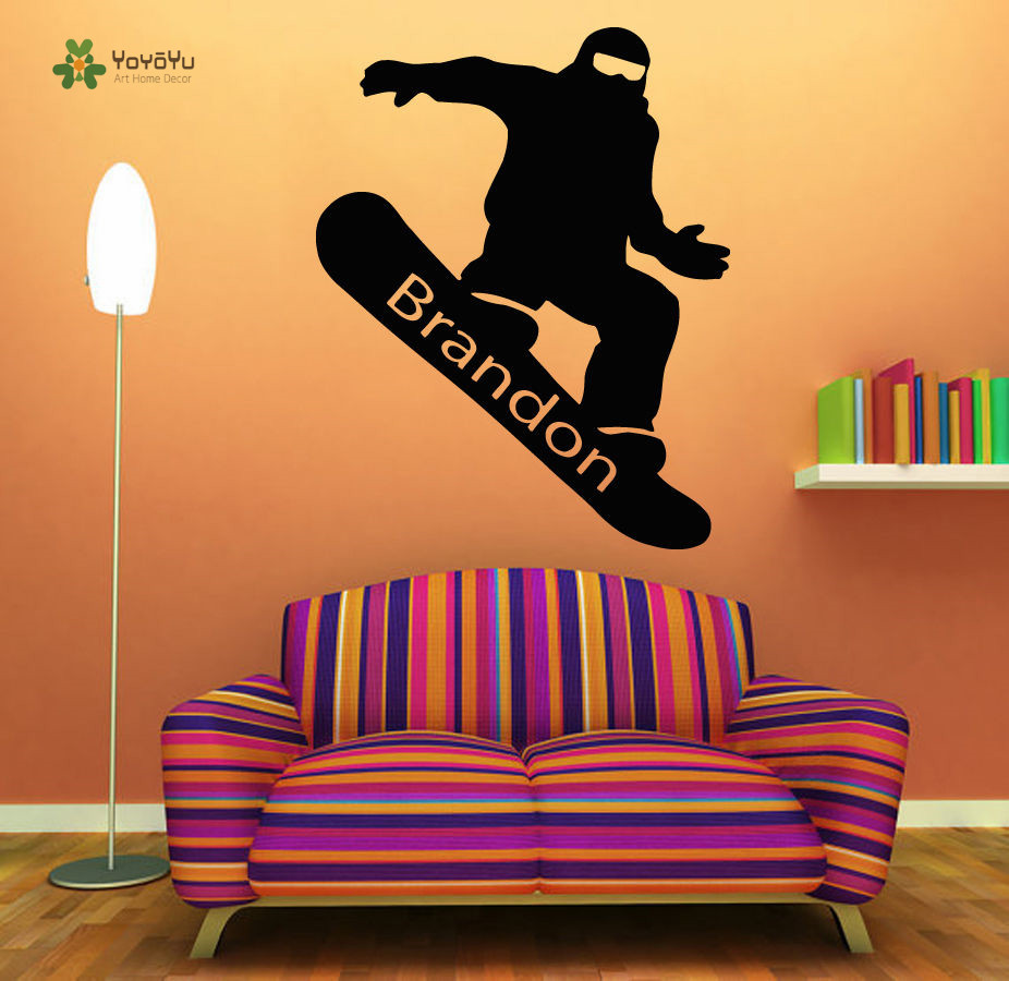 YOYOYU Wall Decal Vinyl Room Decoration Snowboarding Personalized Name Art Removeable Sticker Boy Room Decor YO226 in Wall Stickers from Home Garden