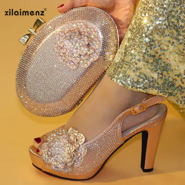 Italian Shoes with Matching Bags High Quality Nigerian Women Wedding Shoes and Bag Set with Rhinestone Party Shoes Bag