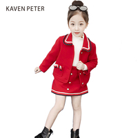 Red winter suit for girl kid autumn winter suit Long sleeves children Clothes Set 2018 red Woolen coat and skirt 2 pcs set
