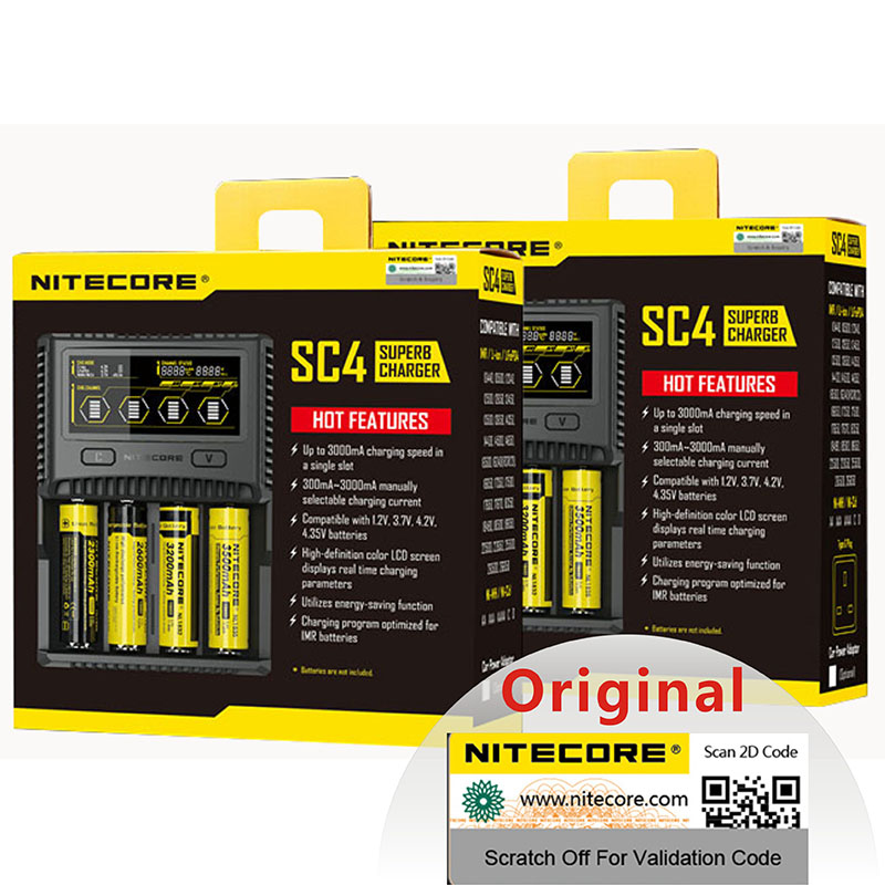 Original NITECORE SC4 Intelligent Faster Charging Super Charger 4 Slots 6A Total Output For IMR 18650