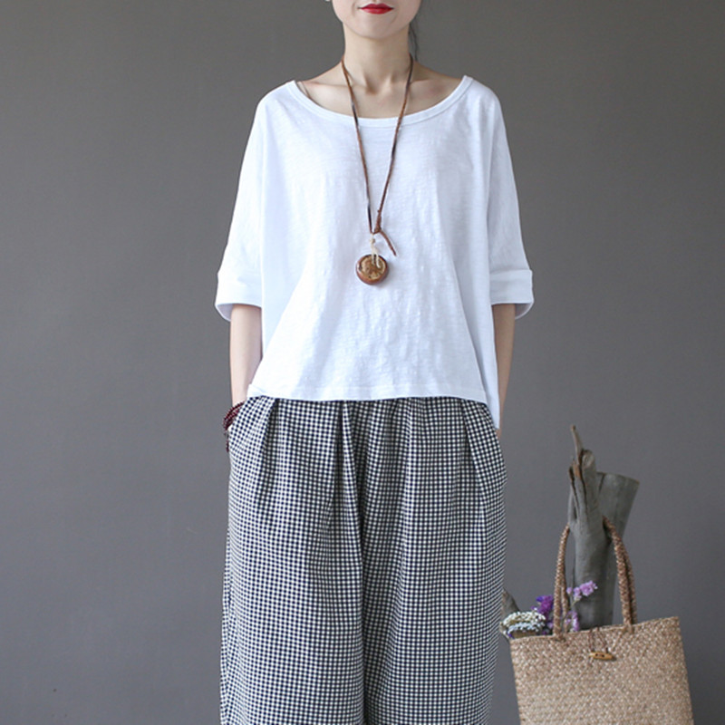 O-Neck Solid Color Half Batwing Sleeve Tops Summer Casual Irregular Pullover New Women Loose T-Shirts