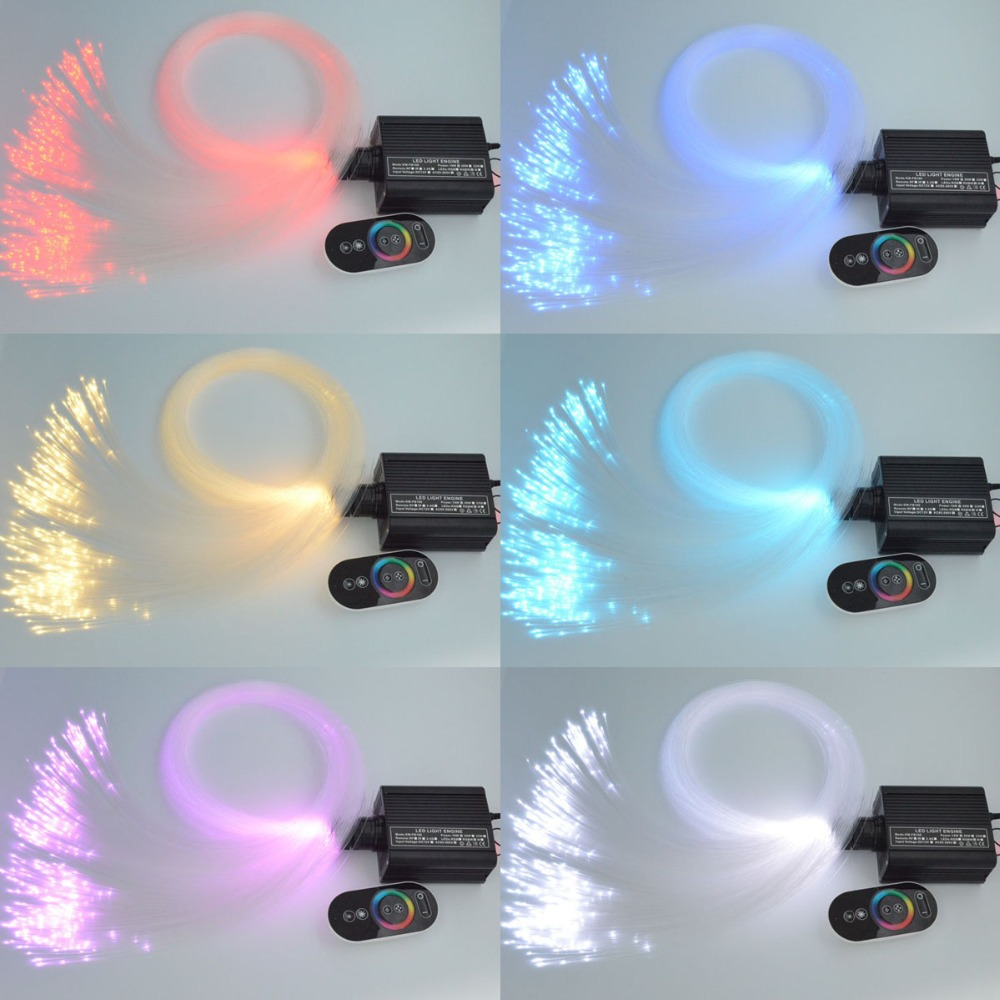 16W RGB LED Fiber Optic Star Ceiling Light Kit Mixed 300pc(0.75mm+1mm)*2M Optical Cable Optical Fiber Lighting+touch RF remote diy star ceiling fiber optic lamp rgb led light source with optical fiber cable touch pad remote decoration bedroom night light