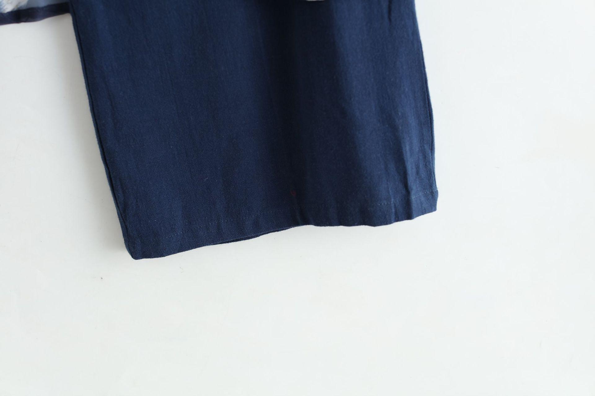 Pantalon Femmes Décontracté Épissure Lin Hommes Larges En Chinois À Jupe Jambes Style Bleu Mâle Mousseline De twx4dX
