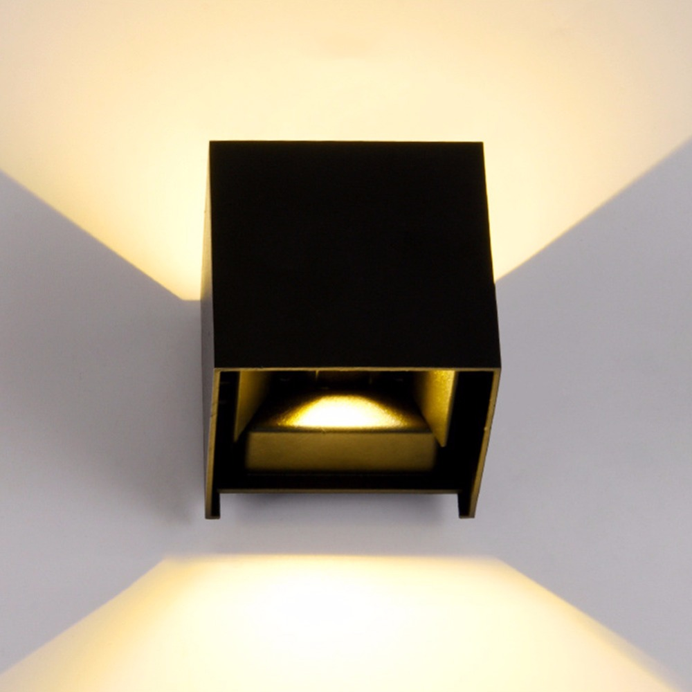 Lamp Wall Mounted Square Shape Wall Light 12W Metal Painted LED Lighting Modern black Lamp for Bedside Hotel