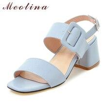 Meotina Wanita Sepatu Musim Panas Sandal Gesper Chunky High Heel Sepatu Pesta Elegan Terbuka Toe Wanita Sandal Biru Pink Plus Ukuran 34-43
