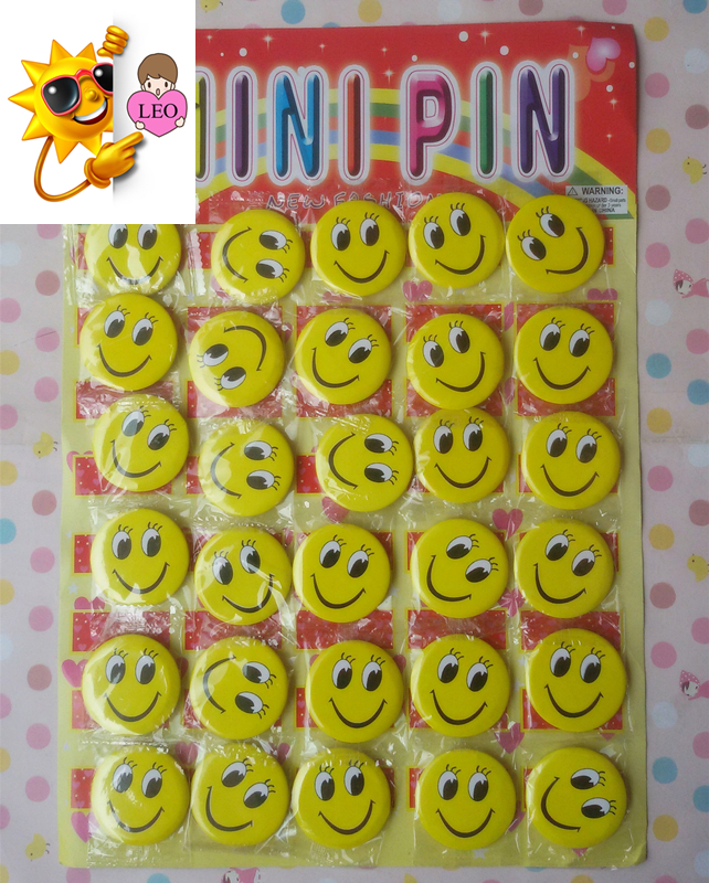 (30 pieces/lot) 4.5cm KTV Sticker Cute Facial Expression Mini Pin Lovely Smile Face Reward Badge For Children PY140
