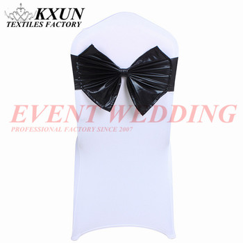 15x35cm Bronzing Coated Lycra Band Spandex Cover Sash With Butterfly Bow Wedding Hotel Event Decoration