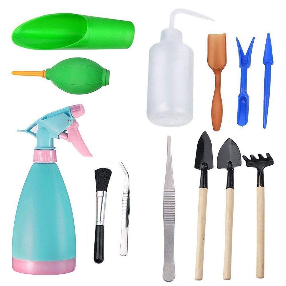 Pretend Play 13/14/18pcs Mini Garden Watering Tool Toys Set Succulent Gardening Tool Set Garden Shovel For Children Garden Toy