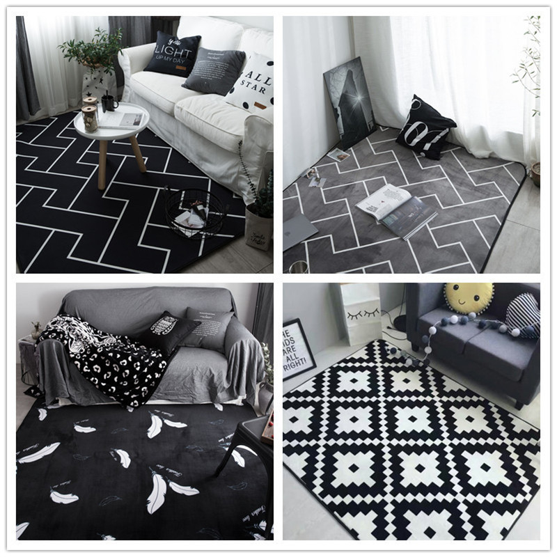 Black and white stripes carpet modern floor rug polyester - Black and white living room rug ...
