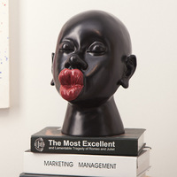 New house decoration fashion red lips ornaments exquisite art sculpture features characters resin crafts gifts free