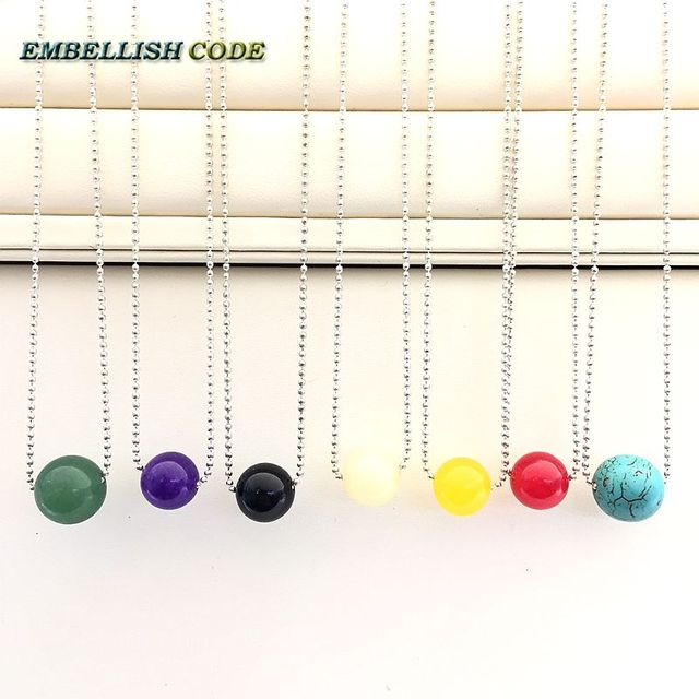 Selling well fashion simple minded Slide 18'' chain with ball shape stone pandent rice yellow blue green black red purple color