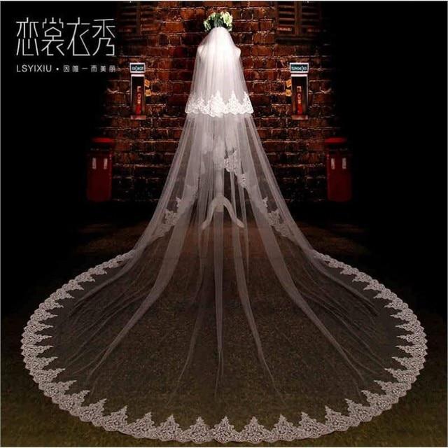 998218fc61 5 metros nuevo elegante novia encaje boda velo largo tren Vintage largo velo  de boda velos