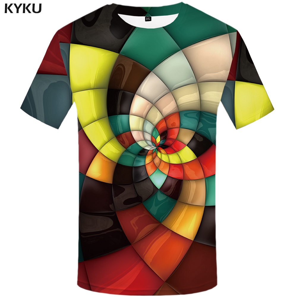 KYKU Brand Plaid   T     shirts   Men Geometric Tshirt Homme Stripes Tshirts Casual Vortex   T     shirt   3d Colorful Print Mens Clothing